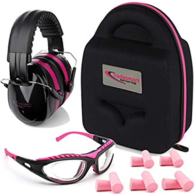 TRADESMART Shooting Range Earmuffs and Glasses – Ear and Eye Protection for The Gun Range with Protective Case, – UV400 Anti-Fog and Anti-Scratch, Clear Safety Glasses – NRR 28 (Pink)