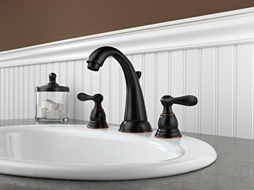 Delta Faucet Windemere 2-Handle Widespread Bathroom Faucet with Metal Drain Assembly, Oil...