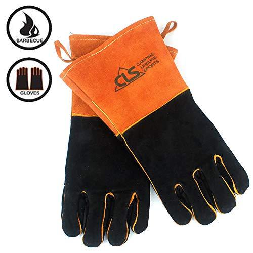 LPVIE multifunctionele lederen handschoenen voor binnen en buiten, beschermende handschoenen tegen brandwonden, hoge temperatuurbestendigheid, om te barbecueën, kamperen, grillen, bakken, lassen