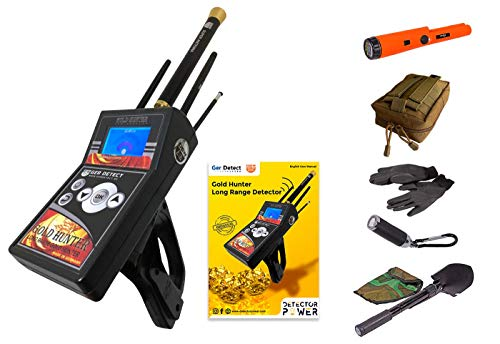 GER Detect Gold Hunter 2019 with 6 Search System + Free GP Pinpointer, Long Range Metal Detector Kit for Adults & Underground Depth Scanner for Distance Targeting for Gold, Silver, Coins, and Treasure