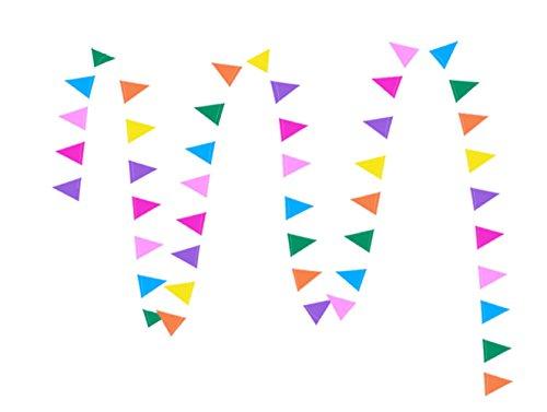 Toruiwa - Guirnalda de banderines de yute multicolor para fiesta, comunión, bautizo, cumpleaños, bodas, 4 m, S, 4*3cm+4M