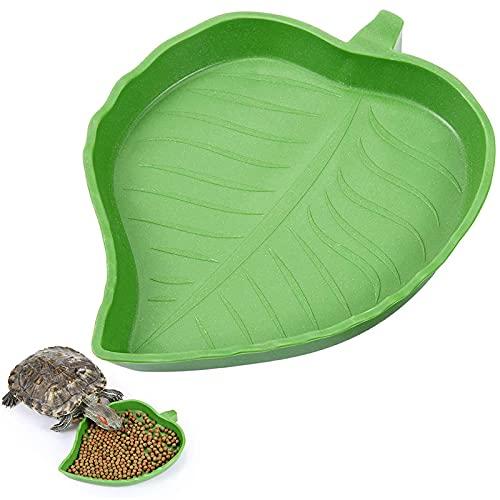 Ciotola Foglia di RettilePiatto Ciotola Acqua Cibo Tartaruga Piatto in Foglia di Rettile per Tartaruga Corn Snake Crawl Pet Bere Mangiare Rettile Ornamento Acquario