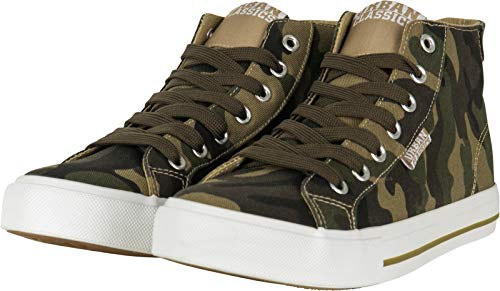 Urban Classics Herren High Top Canvas Hohe Sneaker, Mehrfarbig (Woodcamo/White 01637), 42 EU
