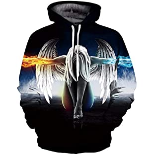 LYJLYJ 3D printing fallen angel hoodie Safe exaggerated personality pattern sweatshirt casual clothes for men and women,M