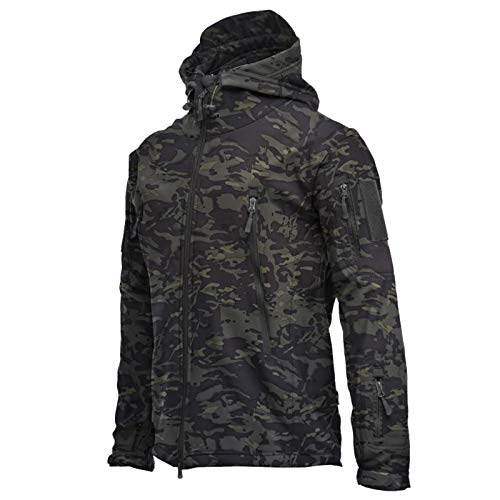 Mr.BaoLong&Miss.GO Jesienny i zimowy męski płaszcz kurtka skóra rekina miękka kurtka kamuflaż z kapturem polar wodoodporna kurtka wiatrowa