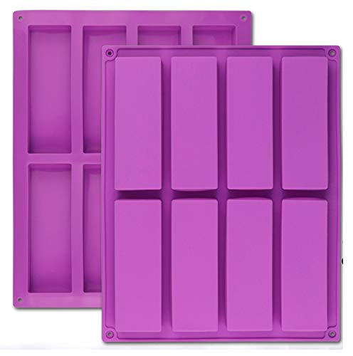 Palksky (2 Pcs) 8 Cavity Large Rectangle Granola Bar Silicone Mold/Nutrition/Cereal Bar Molds Energy Bar Maker for Chocolate Truffles Ganache Bread Brownie Cornbread Cheesecake Pudding Butter Mould