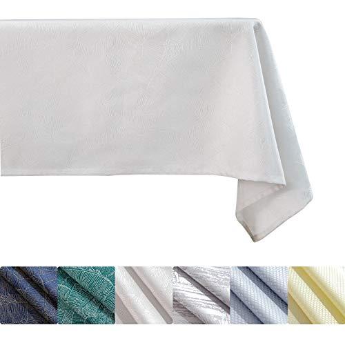 KINLO Mantel de 120 x 160 cm, diseño de hojas, efecto loto, impermeable, protección contra manchas, fácil de limpiar, lavable, color blanco