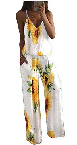 Dames jumpsuit mouwloze sling zonnebloem bedrukte overall wijde pijpen jumpsuits