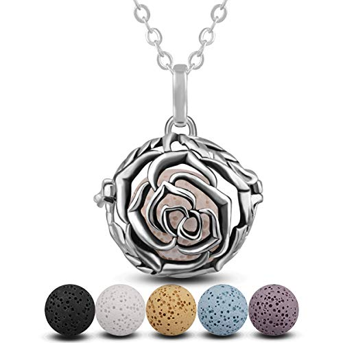 INFUSEU Aromatherapy Essential Oil Diffuser Women Necklace, Rose Perfume Diffuser 18mm Pendant with 5PC Lava Stones & Chain 24',Gifts for Lady