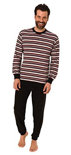 Herren Frottee Pyjama, Schlafanzug mit Bündchen - in toller Streifenoptik - 291 101 13 003, Größe2:52, Farbe:grau-Melange