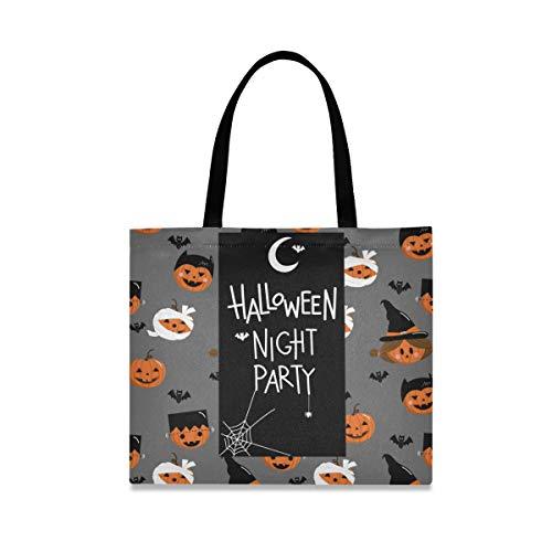 ALARGE Happy Halloween Kürbis-Zitat Canvas Tote Bag Large Casual Schule Shopping Schulter Lebensmittel Handtasche mit langen Griffen für Frauen Mädchen