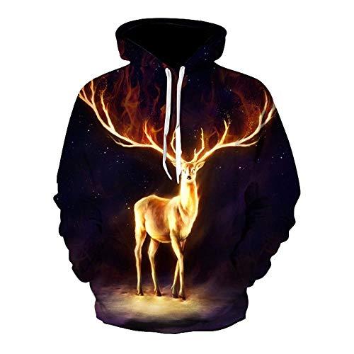NQW Sika Cerf et Feu Graphique Imprimé Hommes 3D Hoodies À Manches Longues À Capuche Automne Sweat Galaxy Streetwear Hommes Vêtements