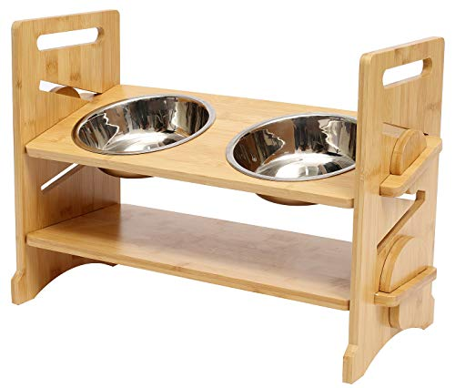 Geyecete Lifting pet bowl cat dining table Cat Bowls Raised Dog Cat Feeder Solid Stand with stainless steel, Bowl Pet Bowls for Cats and Puppy, Adjustable 4 height-Double Bowls