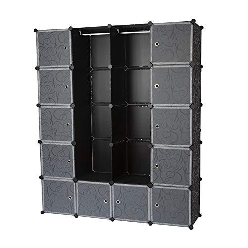 Edaygo Steckschrank Regalsystem Steckregal 182 x 146 x 37 cm, schwarz Gemustert, 20 Boxen
