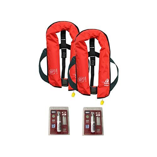 12skipper 2er-Sets Automatik-Rettungswesten 165N/300N ISO UML | versch. Varianten (Rot, 165N Manual-Only + 2 Wartungskits)