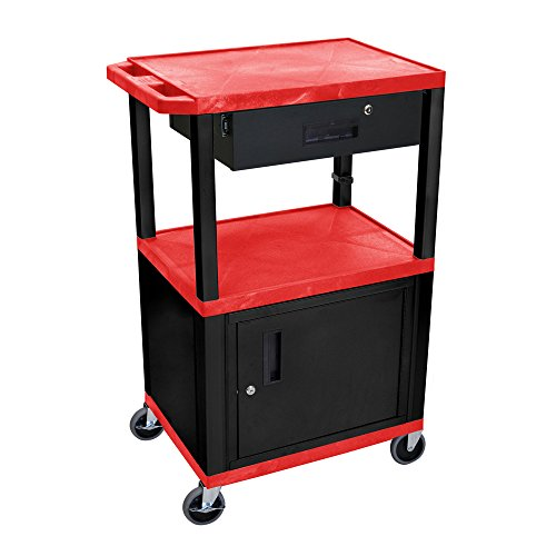 """Luxor 42""""H Rolling Multimedia Audio Video Utility Cart with 3 Shelves, Cabinet, Drawer - Black, Red"""