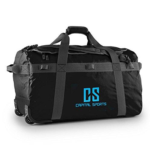 CAPITAL SPORTS Journ L - Sporttasche, Umhängetasche, Rucksack, 90 Liter, wasserabweisend, Reißverschluss, überlappende Verschlusslasche, Trageriemen, Schultergurt, widerstandsfähig, schwarz