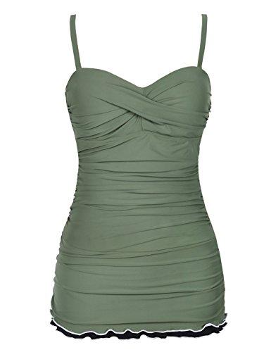 Hilor Women's One Piece Swimsuits Tummy Control Swimwear Ruffle Swimdress with Panty Army Green 12