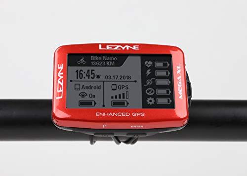 LEZYNE Mega XL GPS Bike Computer, Metallic Red
