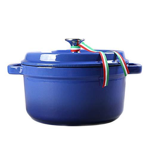ROYWY cazuelas,olla hierro fundido,cookware,con Tapa, Redonda, Todas Las Fuentes de Calor Incl. inducción,Hierro Fundido,Fácil de limpiar Redonda/Blue / 26CM