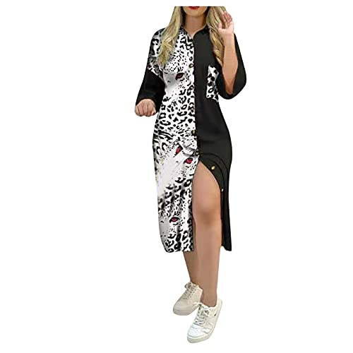 Damen Kleider Sommer Strandkleid Frauen Mode Bedruckt Casual V-Ausschnitt Frauen Kleid Langarm Split Kleid Elegant Lang Maxikleider Partykleid Casual Lose Swing Kleid CO417
