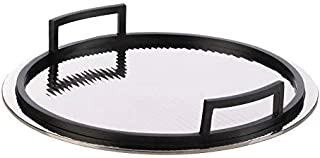 Round Mirrored Serving Tray Black Handles Butler Breakfast Dinner Serving Trays for Ottoman Coffee Table Ottomans, Large Mirror Circle for Cocktail Bar Appetizer Decorative Wedding Housewarming Gift