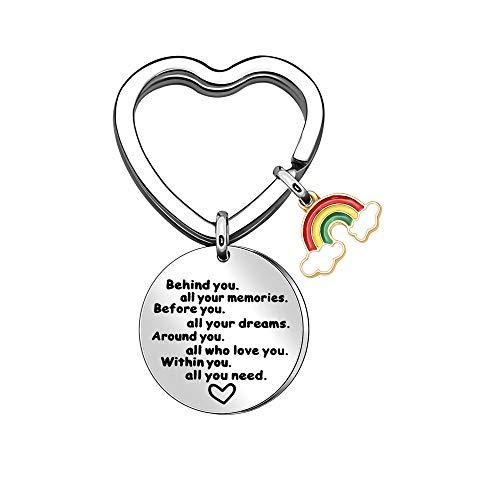 Regenbogen-Schlüsselanhänger, inspirierende Schlüsselanhänger, Edelstahl, Ermutigung, Schlüsselanhänger hinter Ihnen alle Ihre Erinnerungen, bevor Sie alle Ihre Träume haben.