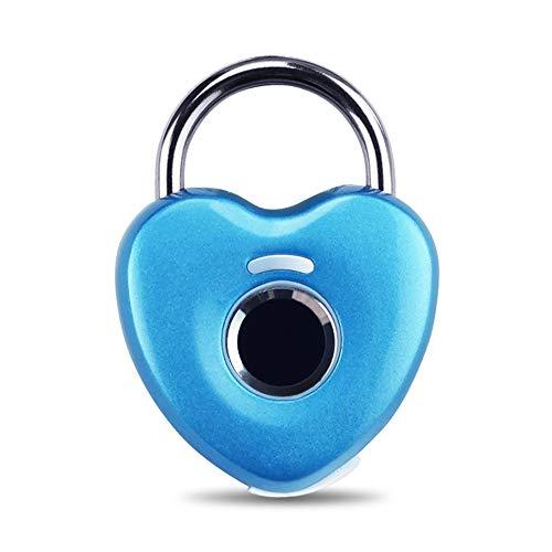 Smart Lock Gym Door Backpack Bike Smart Fingerprint Padlock Waterproof Remote Control Keyless Biometric Lock For family (Color : Blue, Size : 4.5x6cm)