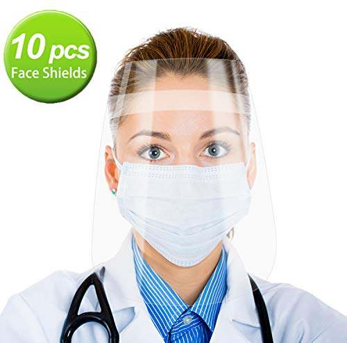 10 PCS Safety Face Shield,Detachable Adjustable Headband,Portable 1.4oz Lightweight,up to 10x16in Large Area Protection Eyes Face with Transparent Clear Film