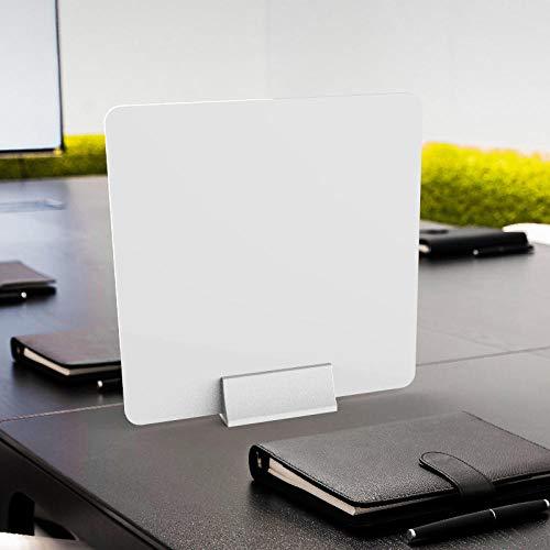 Protector de pantalla para mostrador de tienda blanca, 40 x 40 cm, pantalla de pie para salones de belleza, acrílico transparente