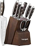 Knife Set, homgeek 8 Pieces Kitchen Knife Block Set with Sharpener,German 1.4116 Stainless Steel Blade,Pakka Wood Handle and Kitchen Scissors,Full-Tang Design