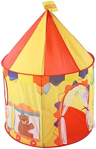 Schattig Play Tent kasteel van circus for kinderen Ruimte Pop Up Play House Toy Tent Foldable Princess Grote Teepee Fun Games Camping Tent Met Cute Bear Balloon Ontwerp van het Patroon (Kleur: Geel, S