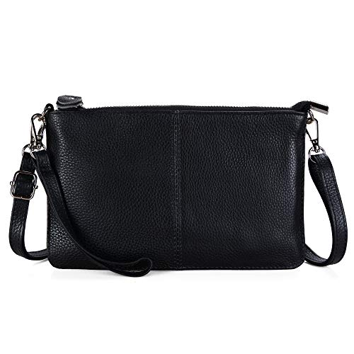 Befen Women's Genuine Smartphone Leather Wristlet Crossbody Wallet Purses and Handbags Mini Crossbody Bag Clutch Wallet with Crossbody Strap - Black