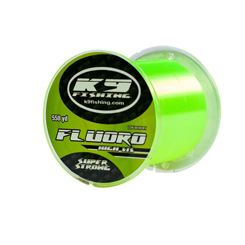 K9 550-6lb-HV Hi-Vis Yellow Fluoro Line 550 Yard Spool 6lb Test