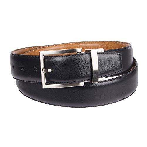 Chaps Men's Reversible Stretch Dress Belt, Black/Tan, Medium (34-36)