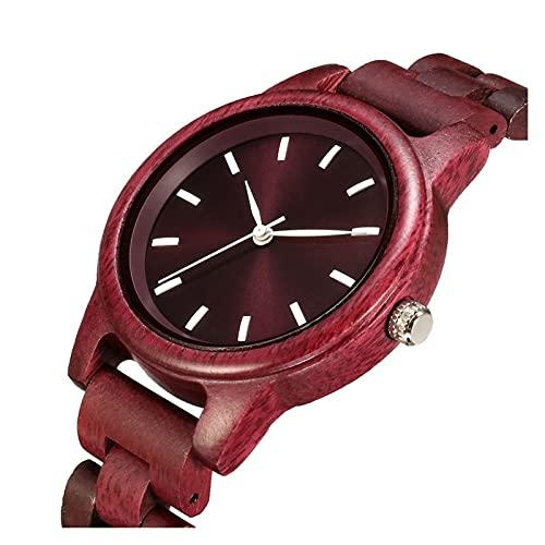 yuyan Reloj de Madera Unisex, Reloj de Pareja de Cuarzo Hecho a Mano de Color Natural Puro, Adecuado para Padres, Familia