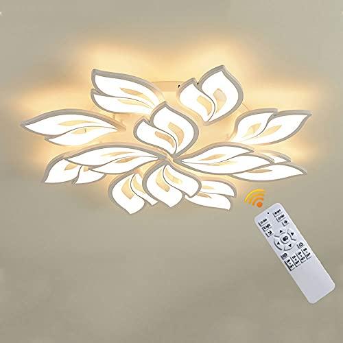 Lichtsse Lamparas de Techo LED Lampara de Salon, 72W 5400LM Moderno Plafón Techo LED Regulable con Mando a Distancia, Color de Luz/Brillo Ajustable, para Dormitorio Pasillo Cocina Comedor, 8+4 Heads