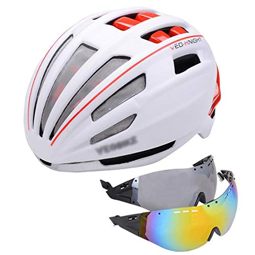 OUYA Casco De Bicicleta Specialized con 2 Lentes, Casco De Bicicleta De Montaña De Doble Capa para Mujeres Y Hombres, Cascos De Bicicleta De Ciclismo para Deportes Múltiples,A