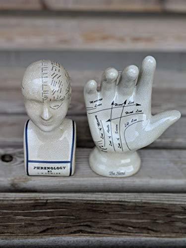Retro Trading Set aus Keramik Hand- und Phrenologie Kopf L.N. Hühner