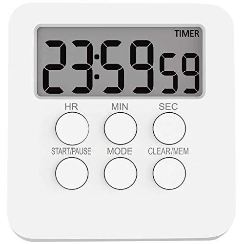 Temporizador de Cocina Digital Temporizador magnético Cronómetro con Reloj, Temporizador electrónico, Temporizador de Huevos para cocinar, Hornear, estudiar, Deportes, batería incluida, Color Blanco