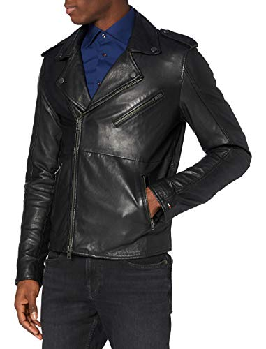 Tommy Jeans Uomo LEATHER BIKER 52 Giacca Maniche lunghe Jeans Nero (Tommy Black) X-Large