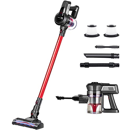Jajibot Cordless Vacuum Cleaner, 2-in-1 Handheld Stick Vacuum with Rechargeable Li-Ion Battery and Adjustable Suction, Lightweight 160W Vacuum Cleaner for Hard Floor Carpet Pet Hair
