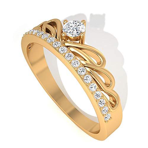 Massives 14K Gold IGI zertifiziert Diamant Krone Verlobungsring, Art Deco Tiara HI-SI Diamant Braut Eheringe Jahrestag Versprechen Ring Set für Mutter, 10K Gelbes Gold, Size:EU 45