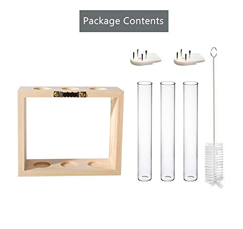Mkono Wall Hanging Glass Planter Propagation Station Modern Flower Bud Vase in Wood Stand Rack Tabletop Terrarium for… 7 Great propagators: Prefect for propagations and cuttings! Propagates your plant's babies in style, slim glass container provides plenty of room for plant's roots and all are visible for observing its growth condition. Minimalistic Look: A wood rack in Natural Retro Color combined with 3 clear glass tubes. A beautiful way to display the artificial or freshly cut flowers, mixed bouquets and water rooted plants for home decor in livingroom, bedroom, restroom, dinning room, kitchen, or office. Functional Item: Simple look is suitable for most of plants, likes Scindapsus, Pothos vine, African violets, Lucky Bamboo, even for Herbs. Wall mountable or desktop stand for different ways of showing. Make a great gift for the plant-lover in your life.