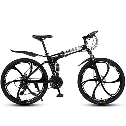26in 24-Speed Mountain Bike voor volwassenen, lichtgewicht Full Suspension Frame, verende voorvork, schijfrem