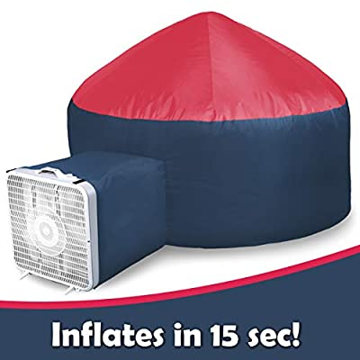 Shape28 Inflatable Kids Tent Play Fort with Safety Viewing Window and Breathable Material (Dark Blue & Red)