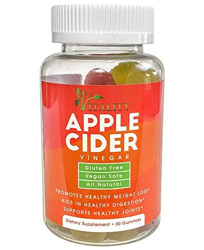 Bio Vitality Apple Cider Vinegar Gummies - Natural Organic ACV Gummies Supplement with Pleasant Taste & Smell - Gluten-Free Vegan Pure ACV Aids Weight Loss & Improve Digestion - 60 Gummy Bottle