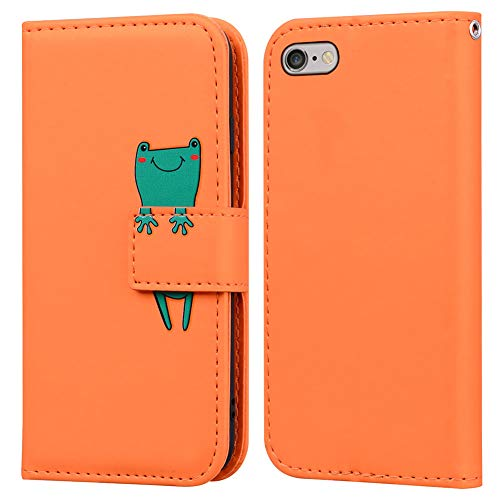 Ailisi iPhone 6/6S Hülle, Karikatur Grün Frog Muster Leder Handyhülle Brieftasche Schutzhülle Leder Flip Hülle Wallet Cover Klapphüllen Tasche Etui mit Kartenfächern+Stand -Frosch, Orange