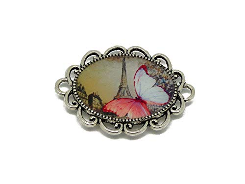 1 magnet Butterfly Eiffel Tower Paris sepia pink white personalized gifts Christmas friends daddy mommy birthday wedding ceremony guests mistress mother's day couples