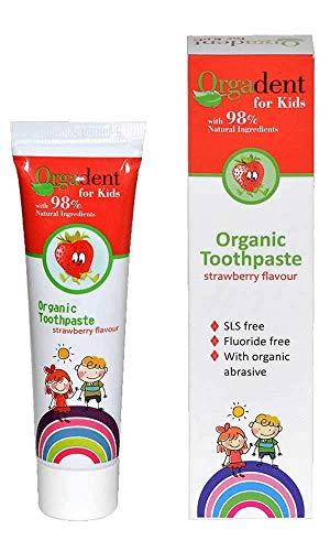 Dentífrico para Niños Sabor Fresas silvestres, con Aloe Vera y Prebioticos Orgadent, SLS free, Fluoride free, Organic abrasive 50 ml